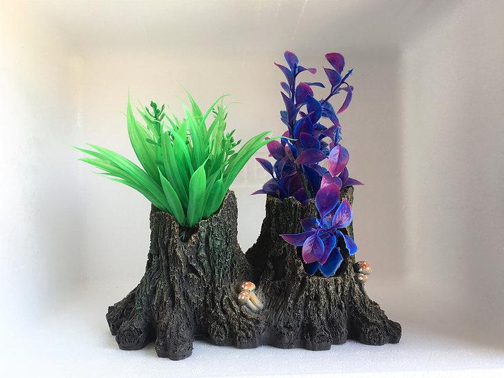 Twin Tree Stumps w/ 2 x Small Plastic Plants
