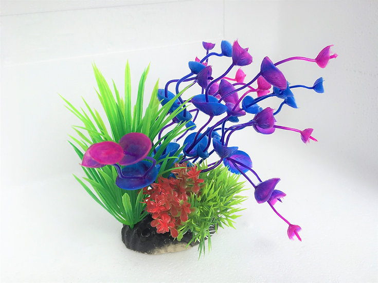Small Detailed Blue Purple Bell Plastic Plant (12cm)
