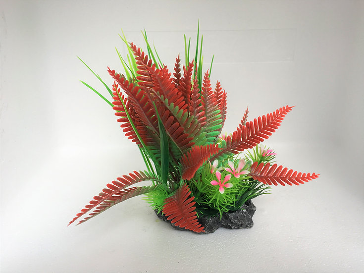 Small Detailed Red Fern Plastic Plant (15cm)
