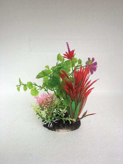 Small Detailed Red Leaf Purple Flower Plastic Plant (14cm)