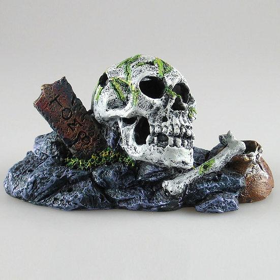 Skull On Rock Aquarium Ornament (14cm)