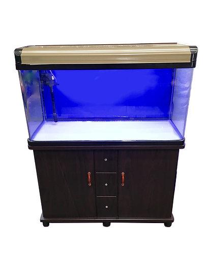 NEON 215L Large Curved Glass Fish Tank Aquarium w/ Filter, LED Lights & Cabinet