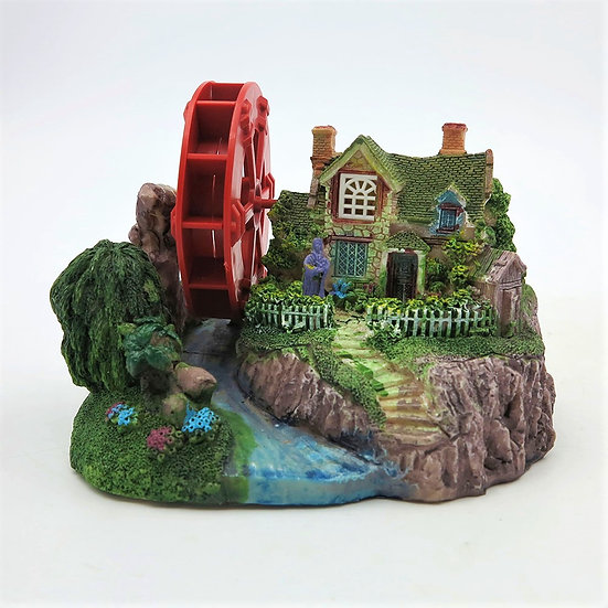 House with Water Wheel & Landscape (14cm)
