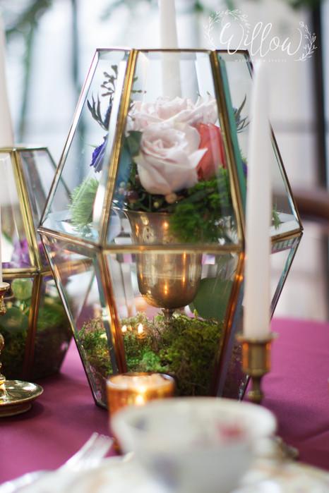 Terrarium filled with florals
