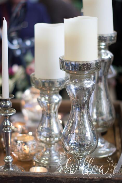 Mercury glass candelabras