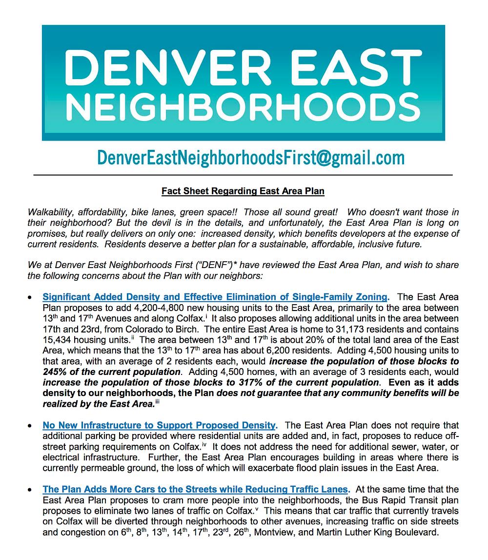 Denver Yimby: Denver East Area Plan Survey - Fact Sheet