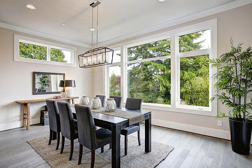 Dining room, kitche table, leather chairs, windows, area rug, indoor plant