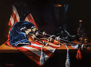 oil painting of bagpipes and an American flag
