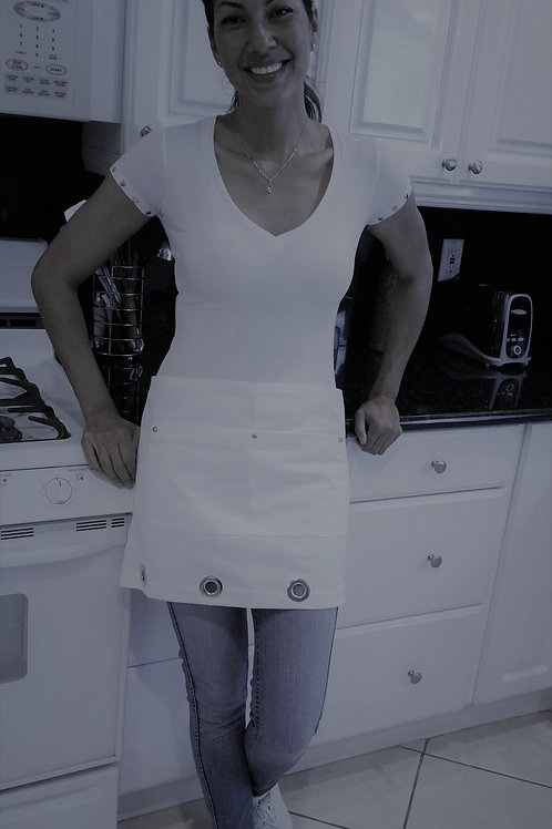 JBJ Apron: White Cotton Twill Cafe With Nickel Grommets