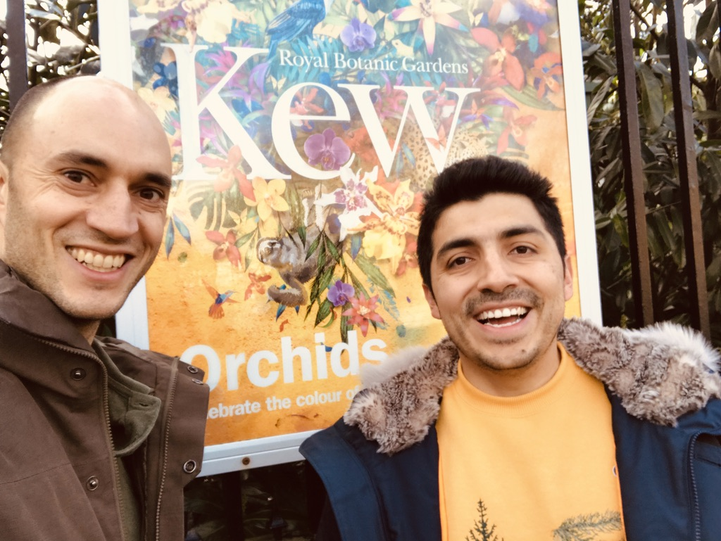 With Alexandre Antonelli at the Elizabeth gate, Royal Botanic Gardens Kew - January 2019