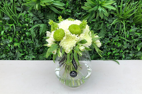 Large green and white posy