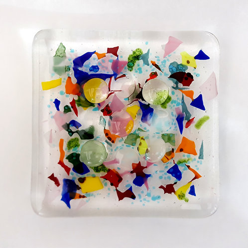 Fused Glass Soap Dish CONFETTI