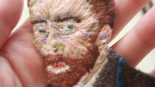 梵谷Van Gogh,手刺繡