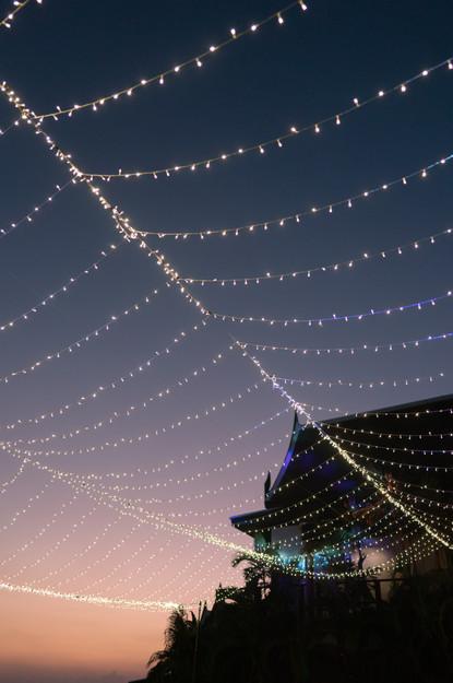 The overhead fairy-tale lighting at Villa Aye, Phuket.