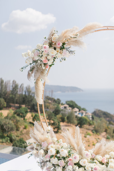 Details of the flower arch featuring pampas grass at Villa Aye, Phuket.
