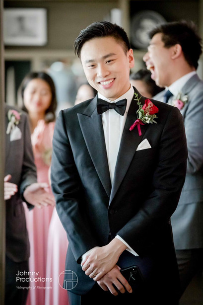 The groom was waiting to see his bride for the first time.