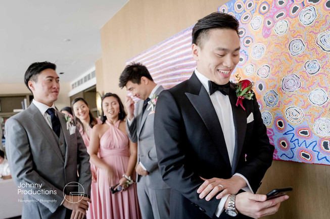 The groom was reading his speech out loud.