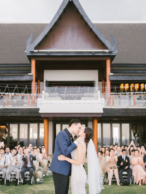 The couple shared a romantic kiss after the ceremony.