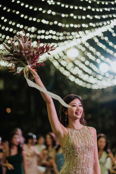 Emi Wong was ready to throw away her bridal bouquet.