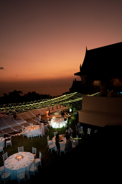 Wedding guests were getting ready for the reception as the night falls.