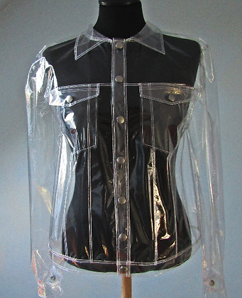 Transparent Clear Plastic PVC Biker Jean Jacket
