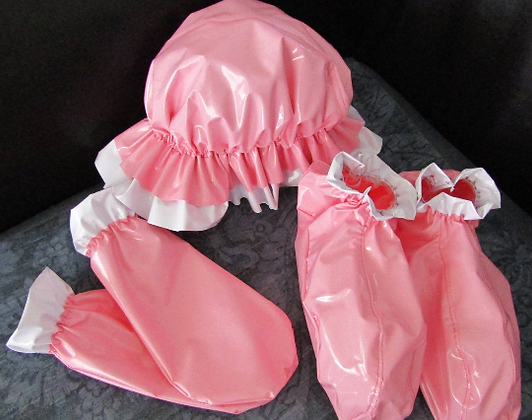 PVC Adult Baby set, Bonnet, Bootie & Mitts. Baby Blue or Pink