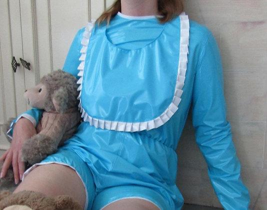 Lockable Adult Baby PVC ABDL Romper Suit & Bib
