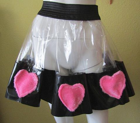 """Transparent PVC Skater Skirt """"Fluffy Hearts"""""""