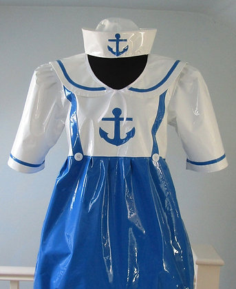 Adult Baby PVC ABDL Sailor Romper Suit & PVC Sailor Hat Outfit.