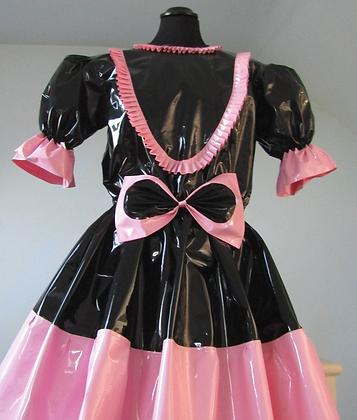 PVC Black & Pink Sissy Knee length Dress