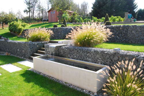 Gabion Retaining Wall and Planter