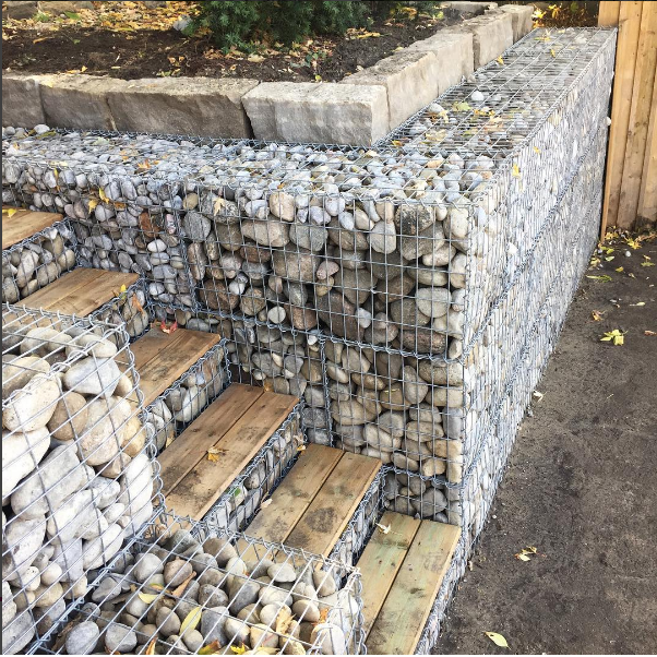 Gabion Retaining Wall slope Backyard