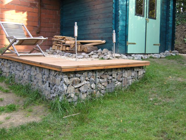 Gabion Furniture Deck @ Cottage