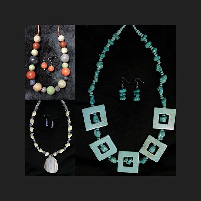 Natural stones & Ceramic Necklace sets.