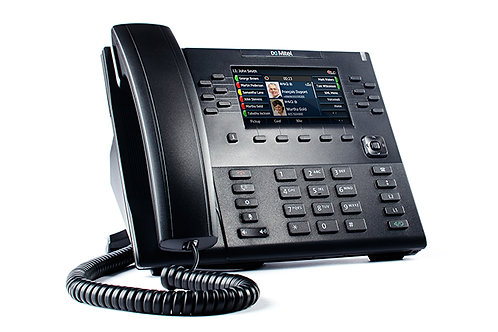 Mitel 6869, soporta hasta 24 cuentas, display a color, PoE 38 Softkeys.