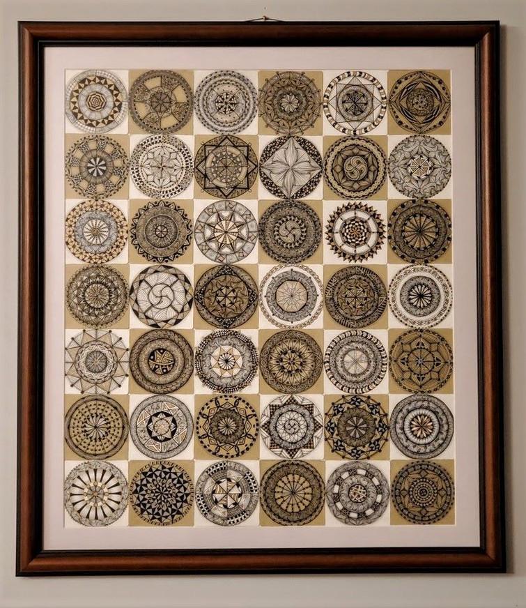 Zentangle Inspired Art: Mandalas on White & Tan