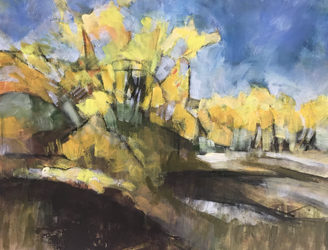 Fall  foliage, North Platte. Acrylic; 24