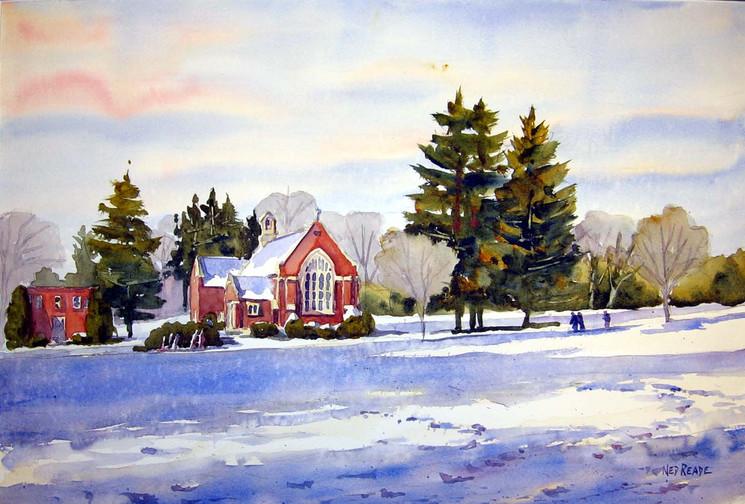 Walking to T-P Chapel in Winter