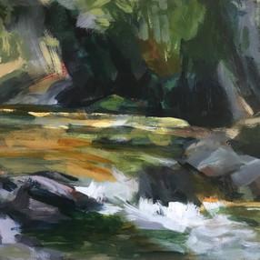 Boulder Creek. Acrylic; 12x16_ (sold)