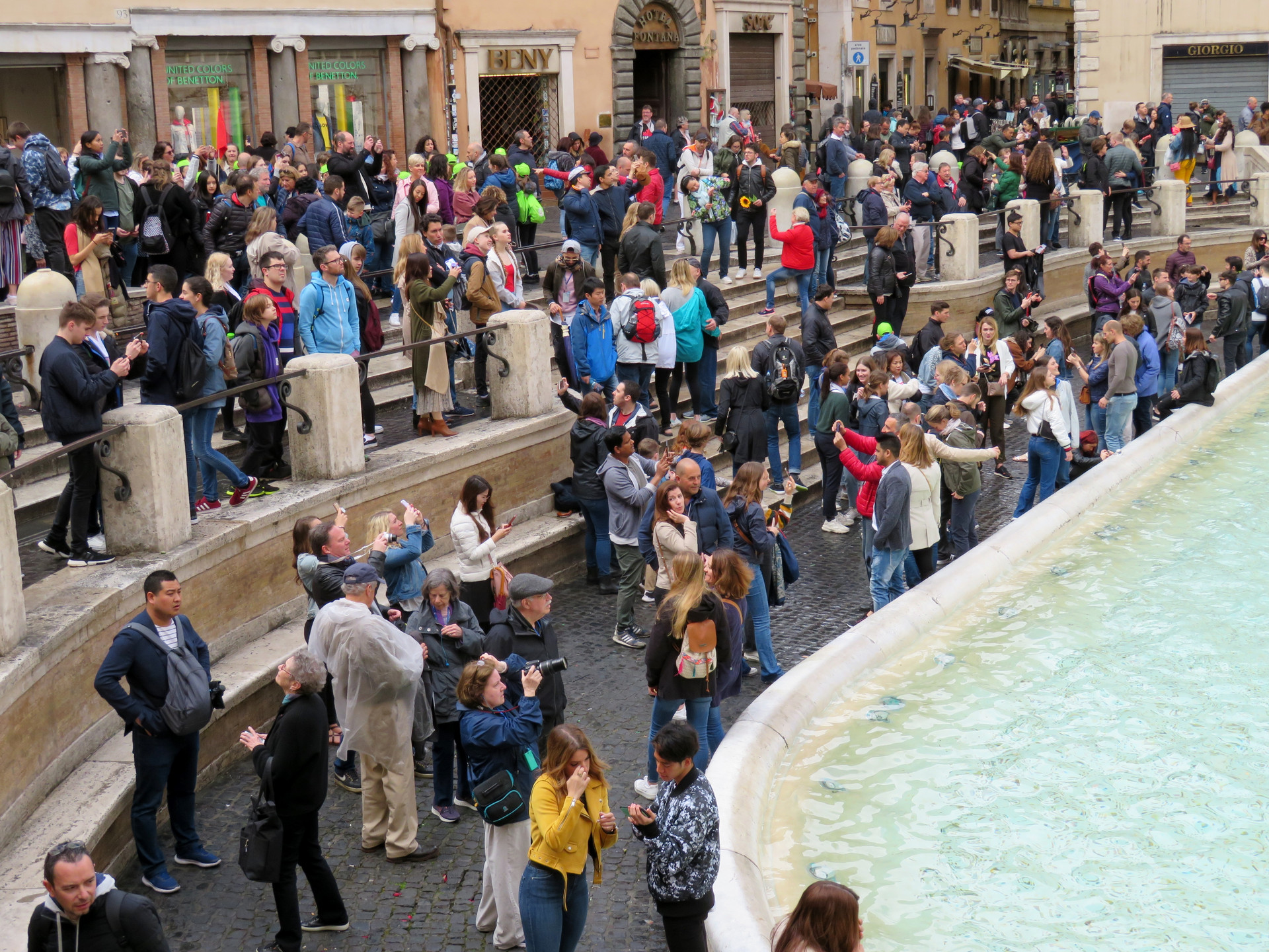 Tourists at the Trevi Fountain, Rome