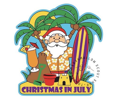 Christmas in July Badge (88mmx85mm)