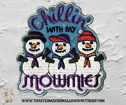Chillin With My Snowmies Badge (Metallic Thread)(75mmx71mm)