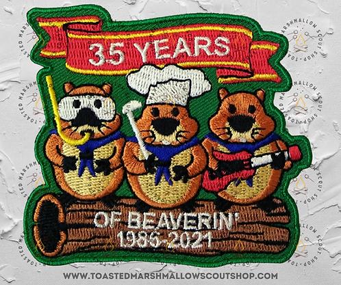 35 Years Of Beaverin' Badge (78mmx70mm)