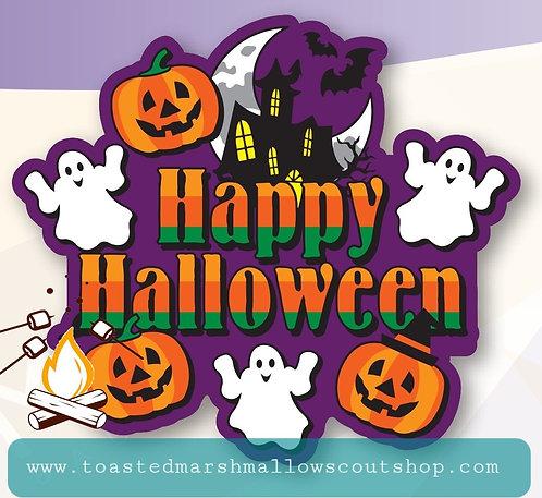 Happy Halloween Badge with Glow in the Dark Ghosties! (100mmx88mm)