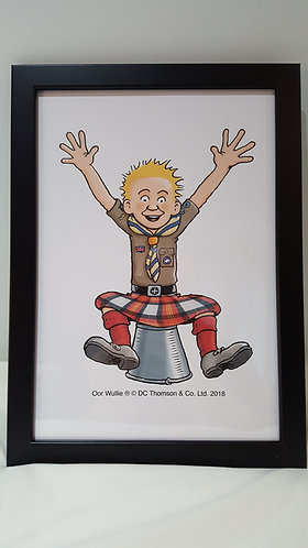 Oor Wullie in Scottish Scout Uniform Framed A4 Print