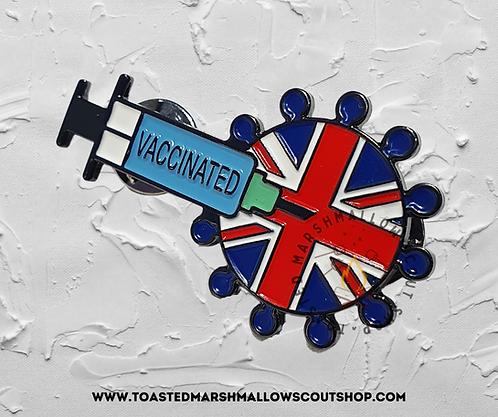 Vaccinated UK Pin Badge (45mmx26.5mm)