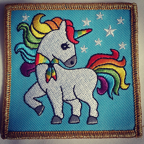 Rainbow Unicorn Badge Gold Border (75mm x 75mm)