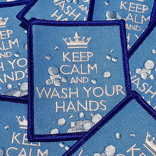 Keep Calm and Wash Your Hands Badge (77mmx63mm)