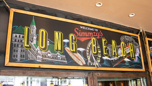 'Long Beach' Hand-drawn Chalk Art for Simmzy's in Belmont Shore.