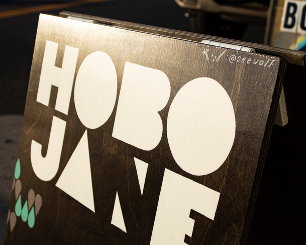 Close-up of a Custom-built and painted A-frame sign for Hobo Jane Boutique